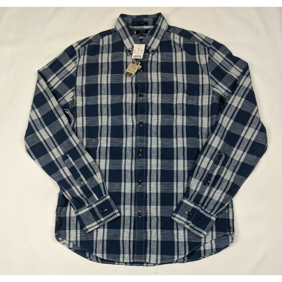 J Crew Slim Homespun Plaid Button Down Shirt Mens